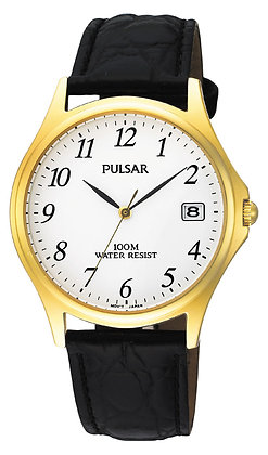 Black Leather Pulsar Watch With Gold Face