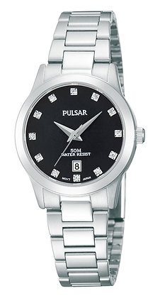 Silver Pulsar Watch with Black Dial