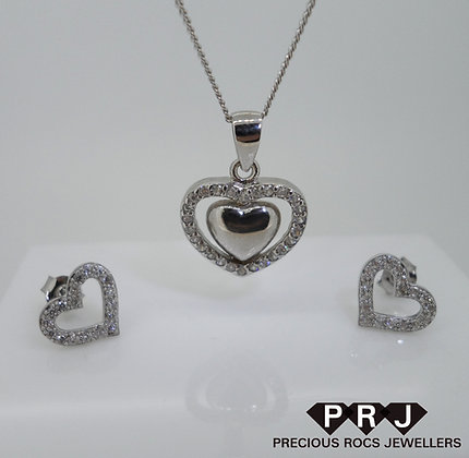 Love Heart Sterling Silver Set