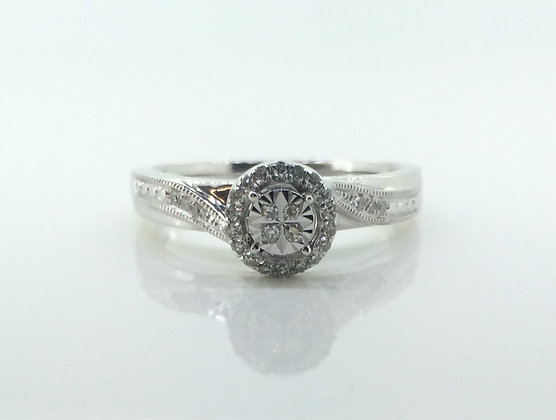 9ct White Gold Rounded Diamond Engagement Ring