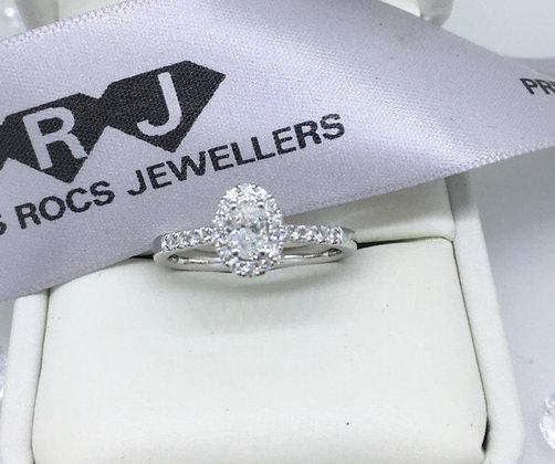Oval Cut Halo Diamond Ring In 18ct White Gold 0.80ct Diamonds