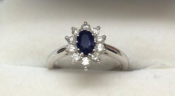 9ct White Gold Sapphire Diamond Ring