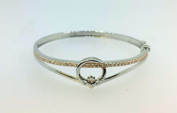 Two Tone Claddagh Bangle with Rose God