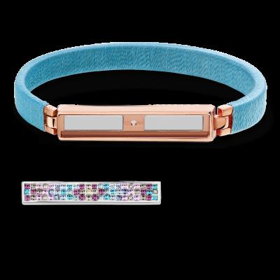 Boho Ice Blue and Rose Gold Bracelet Without Bar