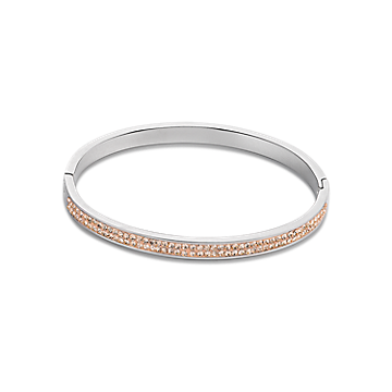 Stainless Steel Crystal Bangle in Peach