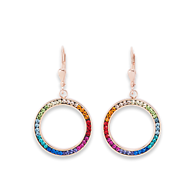 Earrings Ring Crystals pave & stainless steel rose gold & multicolour