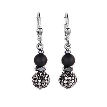 Black Matte Rhinestone Earrings