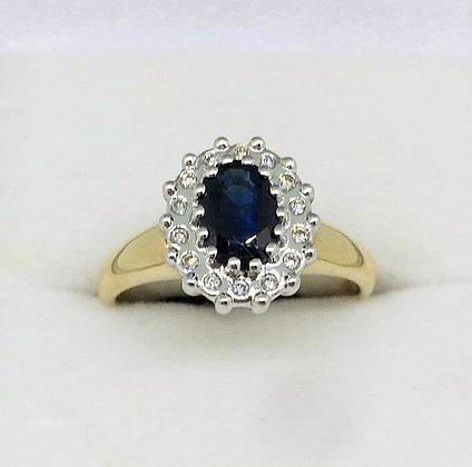 9ct Yellow Gold Diamond Sapphire Ring