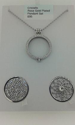 Cristallo Silver Plated Pendant Set