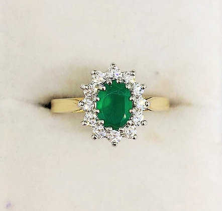 9ct Yellow Gold Emerald & CZ Ring