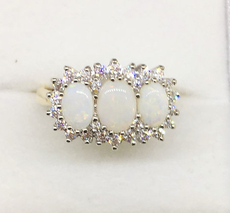 9ct Yellow Gold Opal Ring with CZ