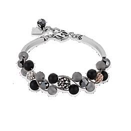 Bracelet Multirow Crystals Pave & agate & onyx