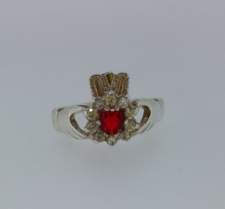 Sterling Silver Ruby Stone Claddagh Ring