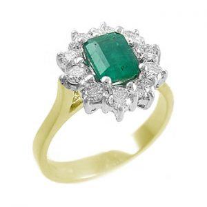 18ct Gold Emerald Diamond Ring
