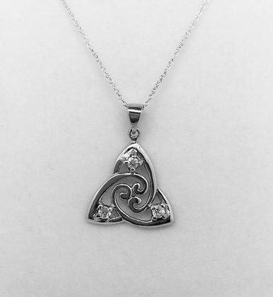 Celtic Trinity Pendant with CZ Detail