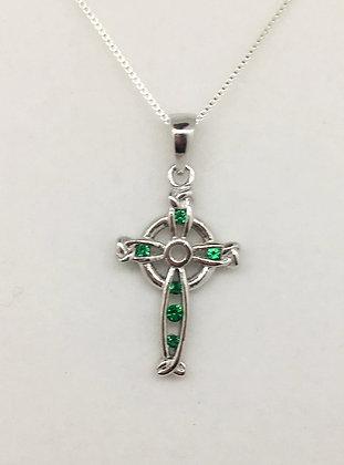 Sterling Silver Celtic Cross with Emearld CZ