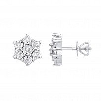 9ct White Gold Diamond Floral Cluster Stud Earrings 0.15ct Diamond
