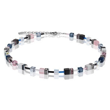 Geo Cube Blue/pink toned necklace