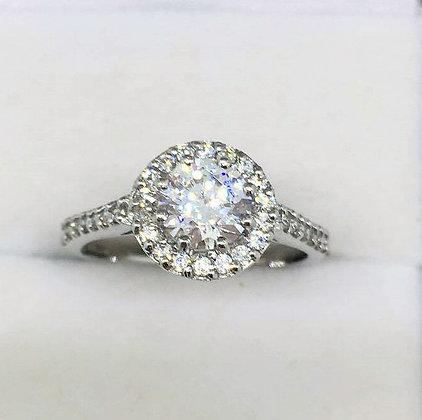 9ct White Gold CZ Ring