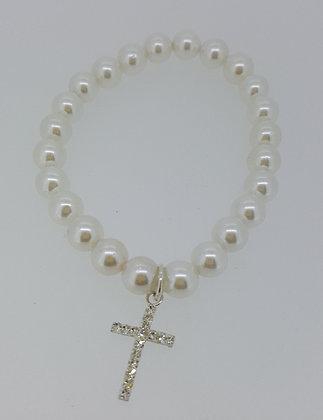 Pearl Bracelet with Diamond Cross