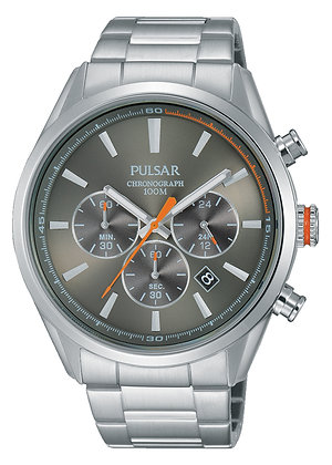 Silver Pulsar Watch With Grey Dial
