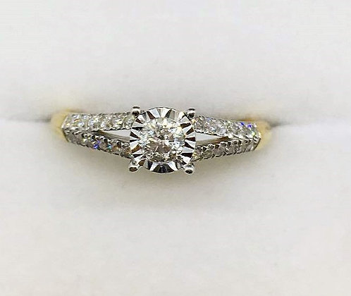 9ct Yellow Gold Diamond Engagement Ring
