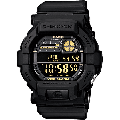 Black Casio Watch with Gold Digital Display