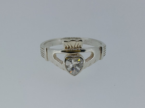 Sterling Silver Crystal Heart Claddagh Ring