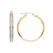 Gold Plated moondust Round Hoop Earrings