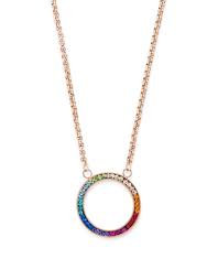 Necklace Ring crystals pave & stainless steel rose gold & multicolour
