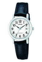 Black Leather Strap with Silver Face Lorus Watch