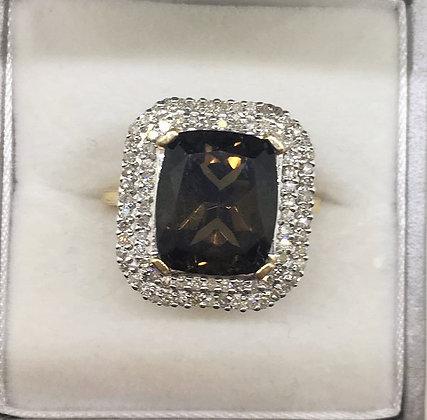 9ct Yellow Gold Smokey Quartz Ring