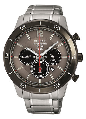Silver Pulsar Sports Watch with a Grey Dial