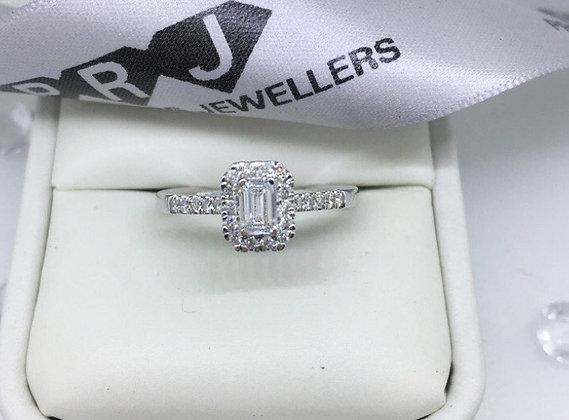 18ct Emerald Cut Diamond Halo Engagement Ring