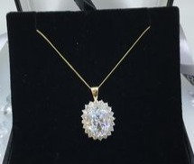 9ct Yellow Gold Cubic Zirconia Cluster Pendant