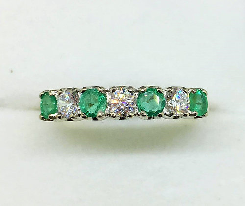 9ct Yellow Gold Emerald Ring with CZ