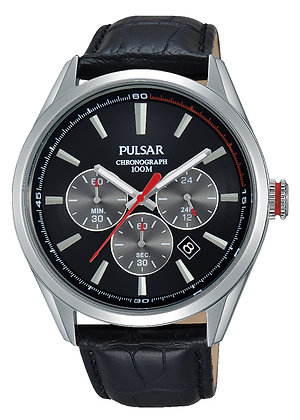 Black Alligator Patterned Pulsar Watch
