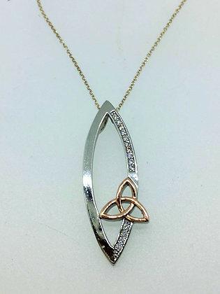Celtic Design Pendant with Rose Gold Detail