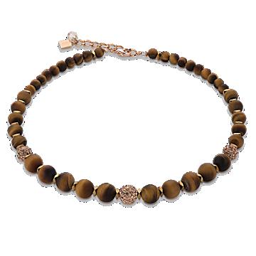 Matte Brown Rhinestone Necklace