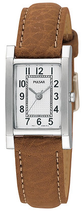 Light Brown Leather Strap Pulsar Watch