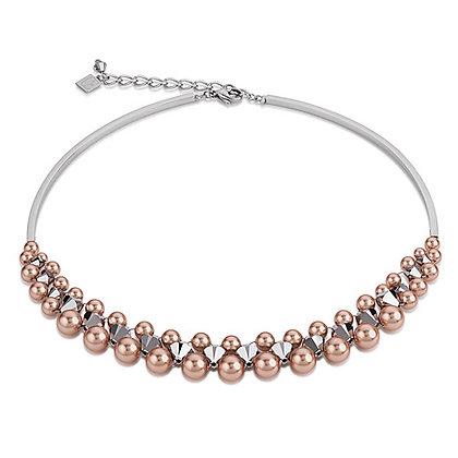 Multirow swarovski crystal pearls necklace-rose gold