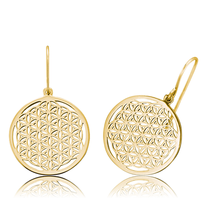 Flower of Life Gold Plated Earrings