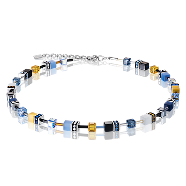 GeoCUBE Necklace Multicolour blue-yellow