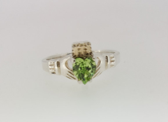 Sterling Silver Peridot Stone Claddagh Ring