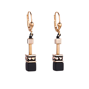 Black and Rose Gold Geo Cube Earrings