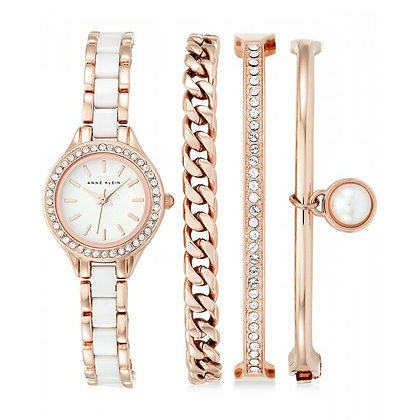 Anne Klein Roe Gold and Ceramic Watch Set