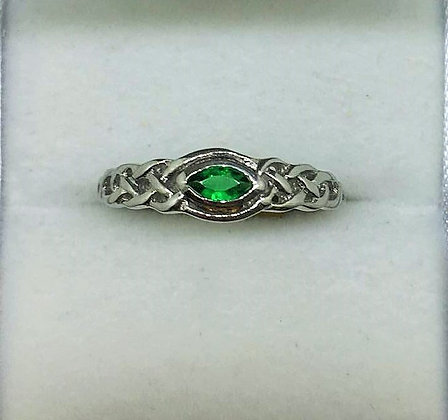 Sterling Silver Celtic Ring with Emerald Colour