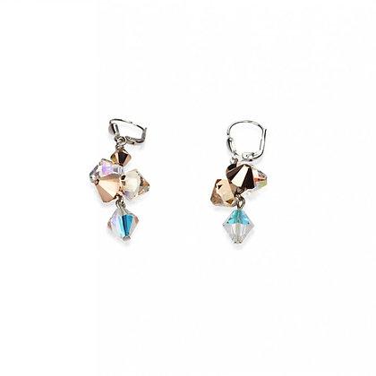 multirow swarovski crystal pearls earrings rose gld