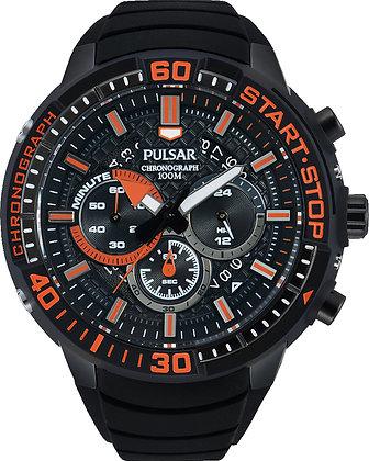 Black Pulsar Sports Watch With Orange Detail