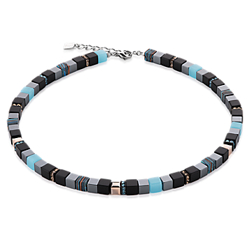 Aqua, Opal and Black Geo Cube Necklace